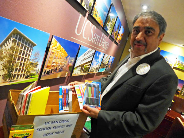 Chancellor Khosla donates school supplies for local children