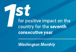 First for positive impact on the country for the seventh consecutive year. UC San Diego 2017 statistic