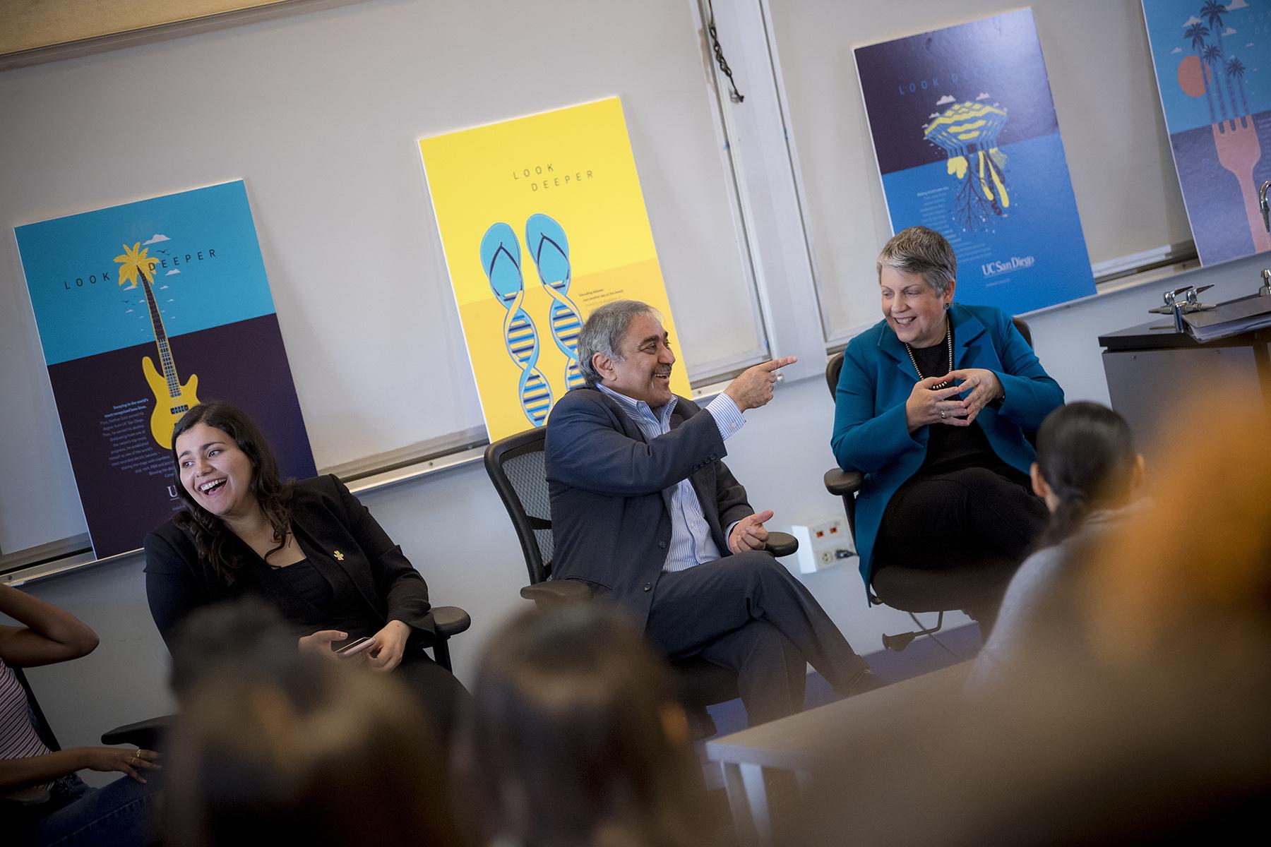 Chancellor Khosla and University of California President Janet Napolitano speak to high school students.