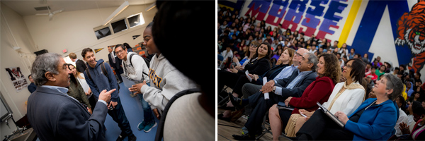Chancellor Khosla visited Morse High School to speak with newly admitted students.