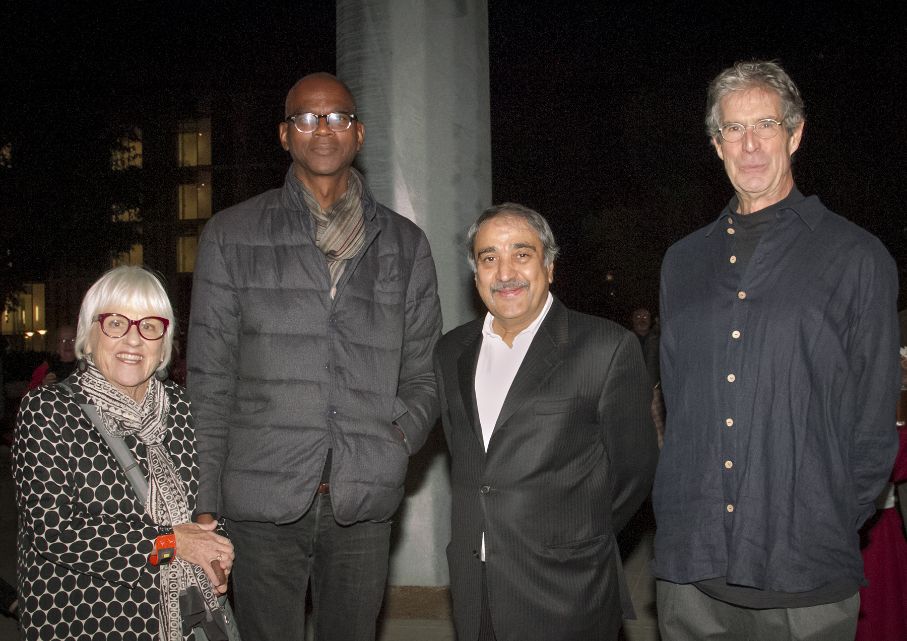 (Left to right) Stuart Collection Director Mary Beebe, artist Mark Bradford, Chancellor Pradeep K. Khosla and Stuart Collection Project Director Mathieu Gregoire.
