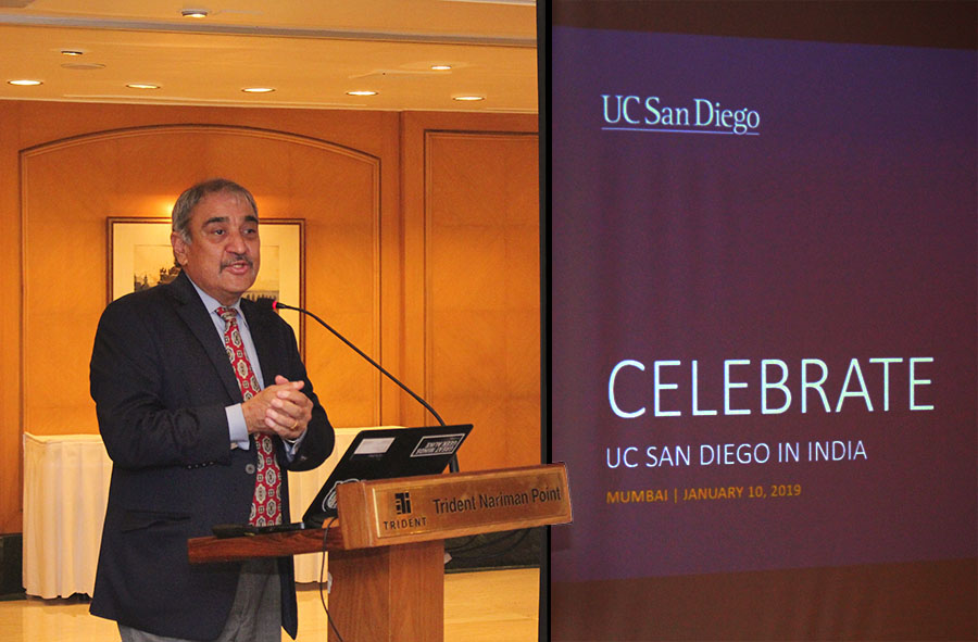 Chancellor Khosla speaking in India