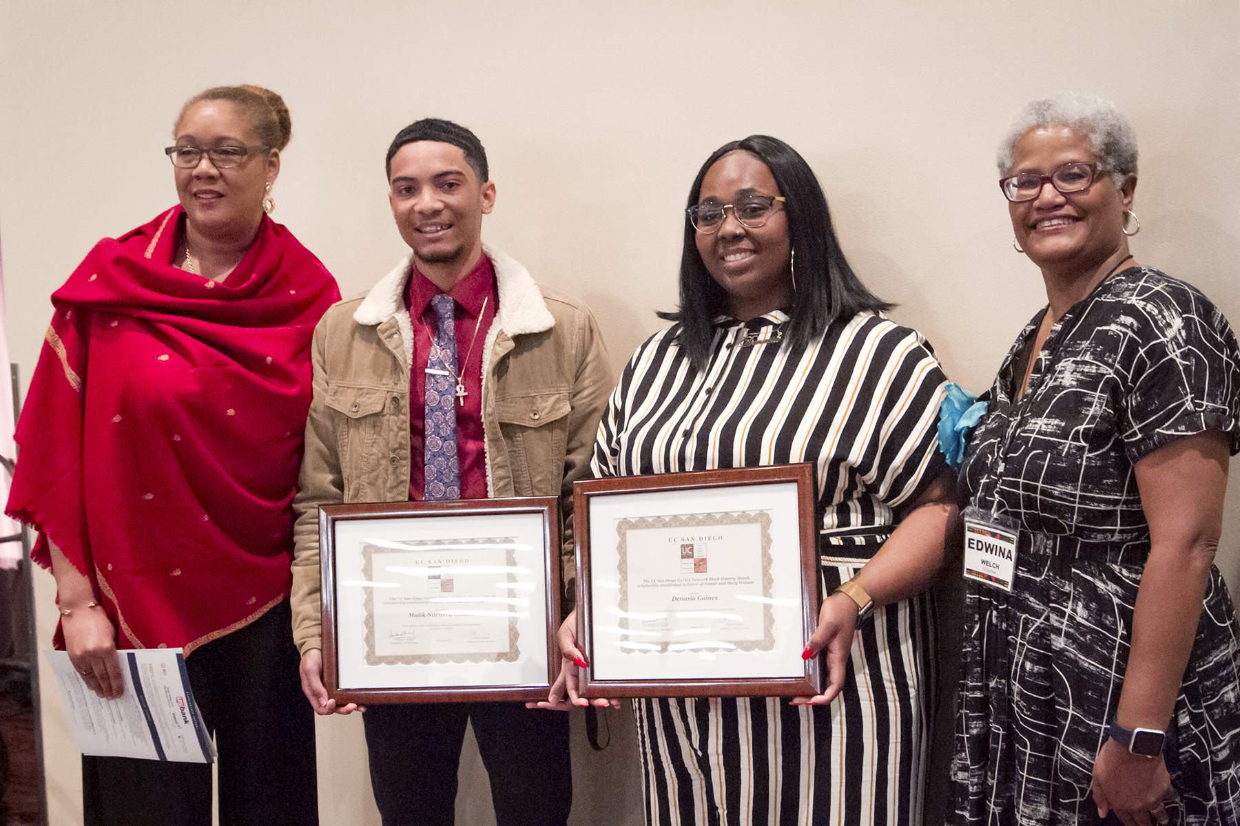 UC San Diego Black History Month scholarship honorees.