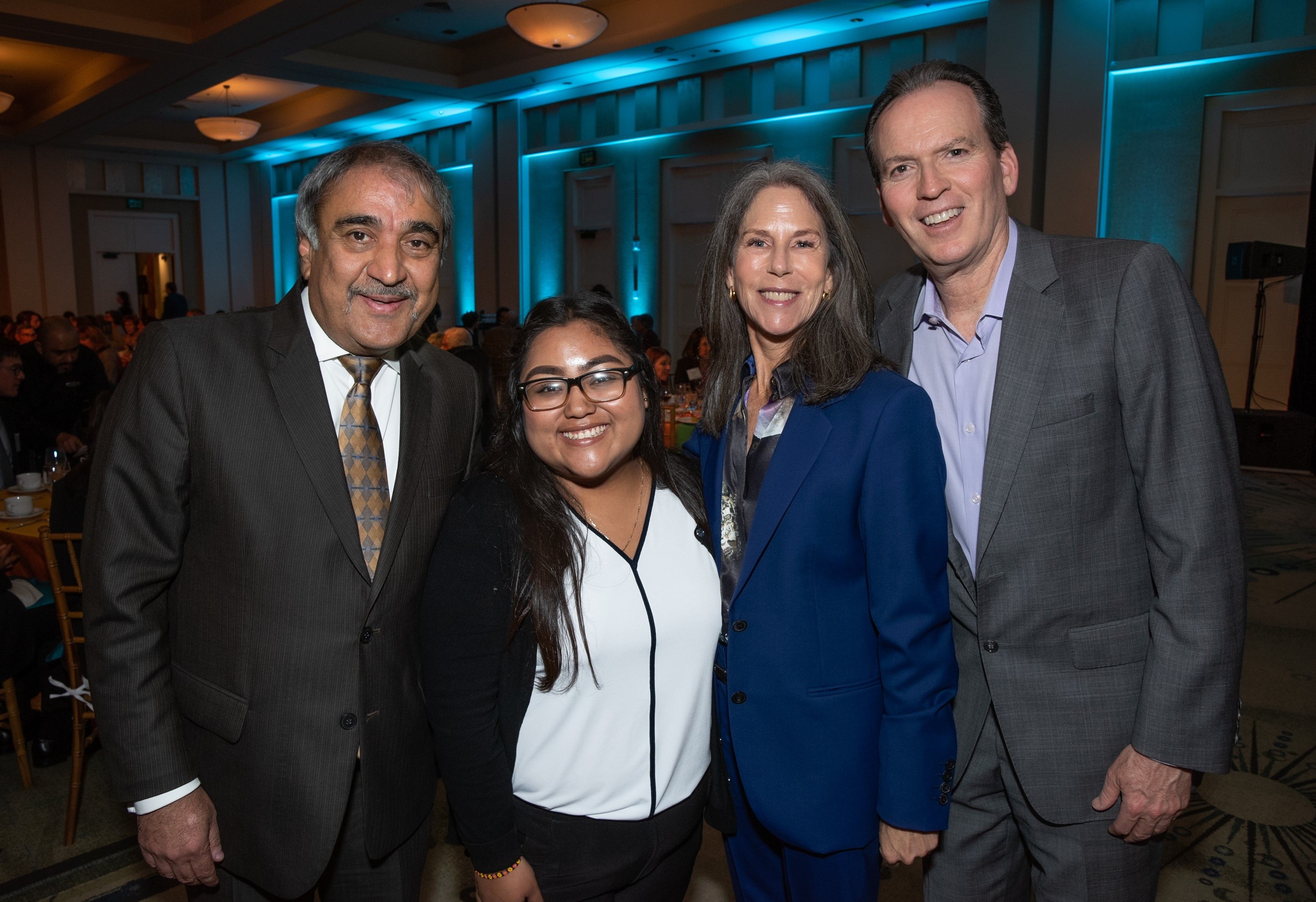Chancellor Khosla; Nidya Preza Campos, Muir College '22; and Karen and Jeff Silberman at the 2020 Hearts and Scholars Dinner.