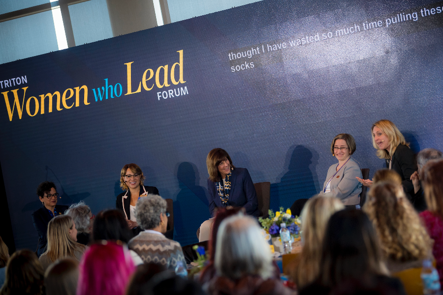 "Associate Chancellor Suzi Sterner, Vice Chancellors Becky Petitt and Allyson Satterlund, and Deans Kit Pogliano and Lisa D. Ordóñez shared their personal stories of leadership and women's empowerment at the sold-out ""Triton Women Who Lead Forum."""