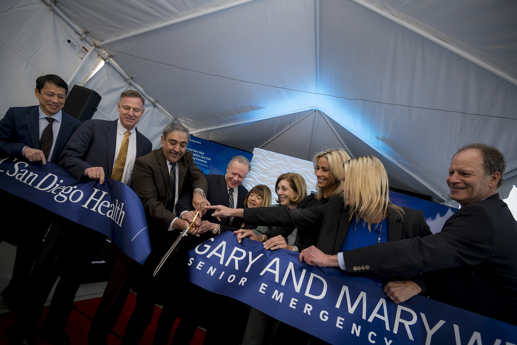 Chancellor Khosla cuts the ribbon at West Health Senior Emergency Care Center