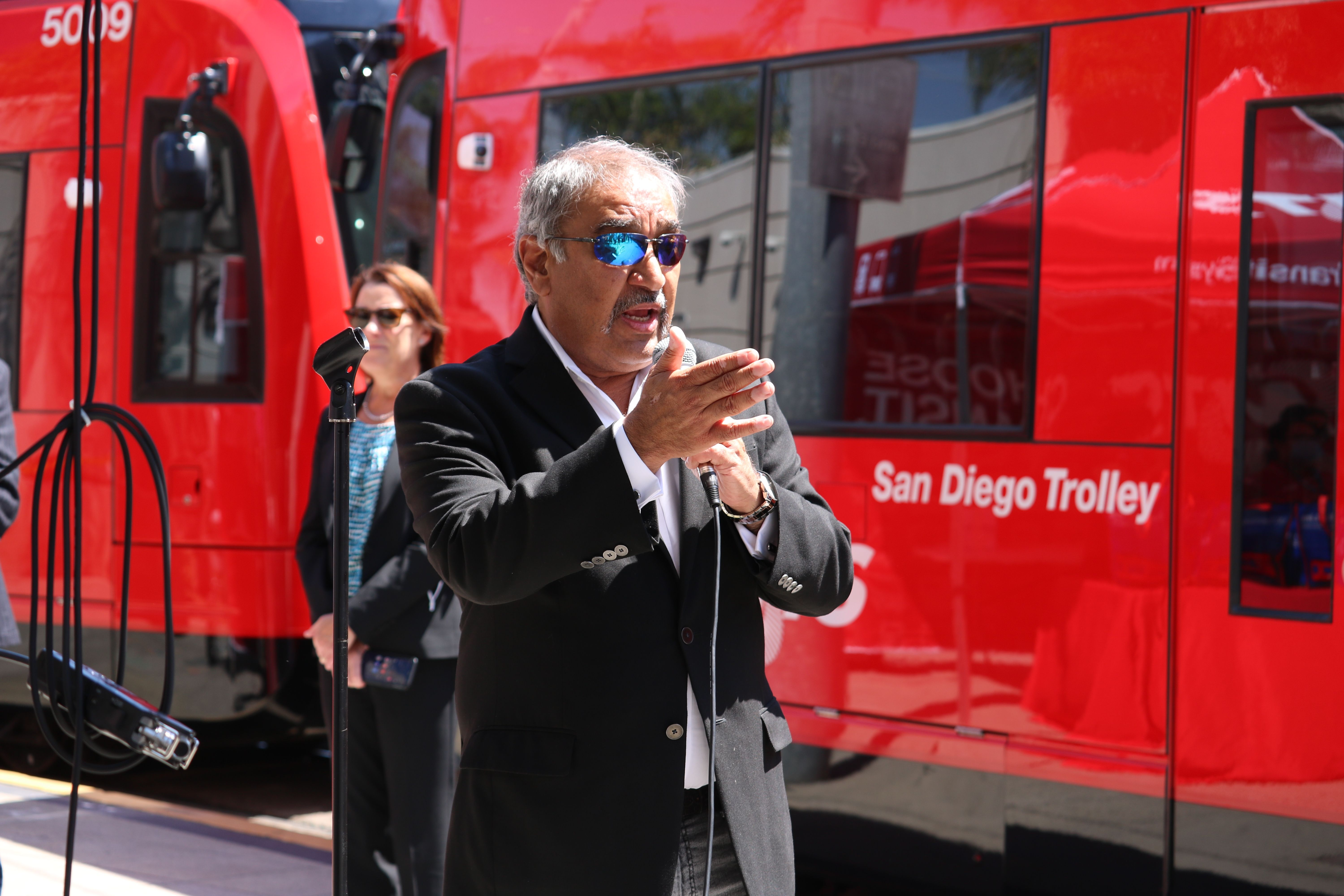 Chancellor Pradeep K. Khosla at the MTS First Ride Event for the UC San Diego Blue Line Trolley extension.