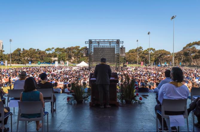Chancellor Pradeep Khosla addresses students at Convocation on Sept 21, 2021