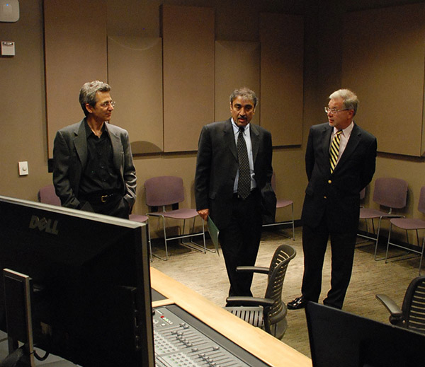 Khosla tours the Prebys Music Center with Dean Seth Lerer and Prof. Aleck Karis