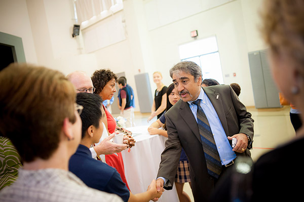 Chancellor Khosla greets students on the first day of classes at The Preuss School.